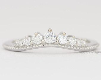 Gentle Curve Diamond Ring 14k Gold Wedding Band Graduated Diamonds Milgrain Tiara Crown Stacking Nesting Wedding Ring Bands Wedding Bands 14k Gold Wedding Band