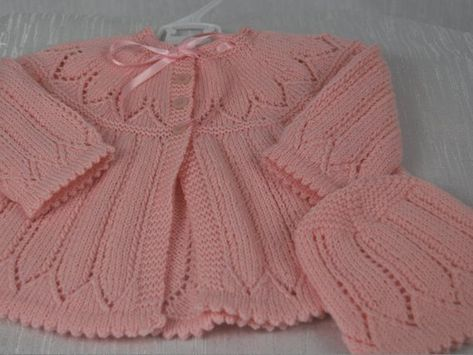 8734c6d28c81 Beautiful Hand Knitted Matinee Jacket and Bonnet in 100% Luxury ...