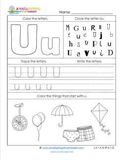 Abc Worksheets Letter U Alphabet Worksheets A Awellspring Alphabet Worksheets Preschool Abc Worksheets Preschool Letters Letter u worksheets for toddlers