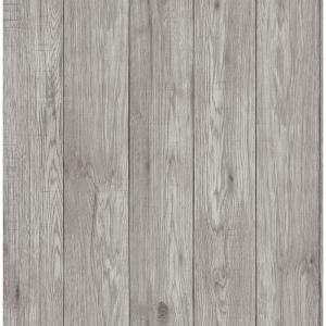 Roommates Distressed Wood Vinyl Peelable Roll Covers 28 18 Sq Ft Rmk9050wp The Home Depot Wood Wallpaper Woven Wood Grey Wallpaper