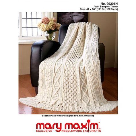 Mary Maxim - Aran Sampler Throw - Pattern Only