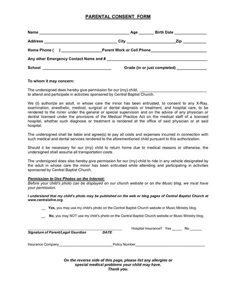 Parental Consent Form for Minor Age to Work Projects to Try - child medical consent form