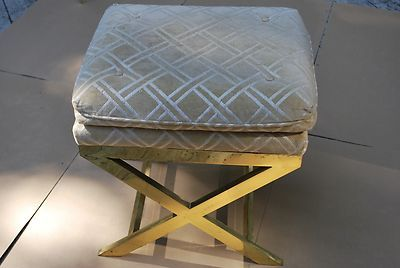 2 hollywood regency brass x base italy stools mid century modern