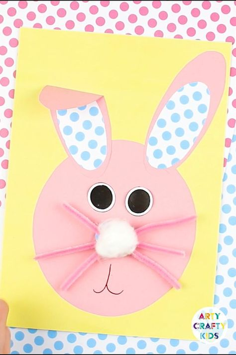 Fun, engaging and interactive bobble nose Paper Easter Bunny Craft for kids! A simple kids craft with a printable template that can be used at home or within the classroom. Perfect for Spring and Easter crafting with the kids @artycraftykids