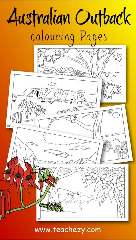 Australian Outback Colouring Pages Includes Uluru Macdonnell Ranges Flannel Flowers Sturt S Desert Flow Australian Animals Australia Crafts Colouring Pages