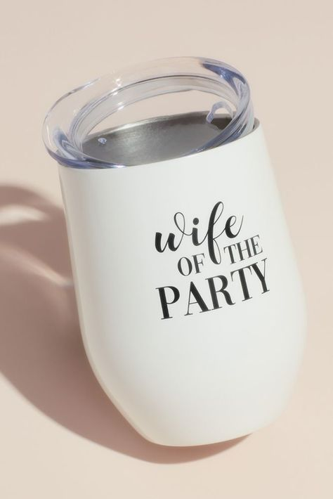 """Keep your beverage hot or cold at your bachelorette or after party in this insulated steel tumbler, proudly inscribed with """"Wife of the Party."""" Stainless Steel tall Holds Hand wash only Imported Bachelorette Party Planning, Bachelorette Party Decorations, Nautical Bachelorette Party, Bachlorette Party, Will You Be My Bridesmaid Gifts, My Bridal Shower, Bachelorette Wine Glasses, Stainless Steel, Bridal Gifts For Bride"""