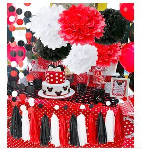 Minnie Mouse Party Supplies White Black Red Ladybug Birthda