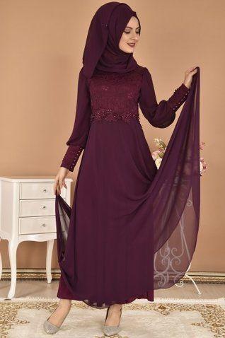 Modamerve Sal Kombinli Balon Kol Sifon Abiye Elbise Murdum Kag 12602 Giyim Elbise Tunik