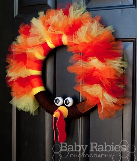 turkey tulle wreath omg kimmie lets get this idea going crafty stuff pinterest wreaths thanksgiving and craft
