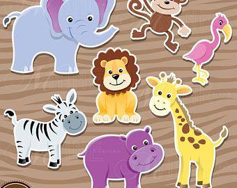 Zoo Animal Sticker Clip Art Zoo Animals Clipart Downloads Animal Clipart Vector Sticker Flamingo Lion Elephant Animal Clipart Zoo Animals Animal Stickers