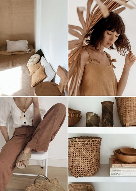 clothing and home furnishings in shades of brown. / sfgirlbybay