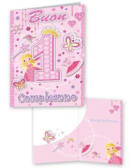 1 Anno Auguri Bimba Buon Compleanno Compleanno Biglietti Di