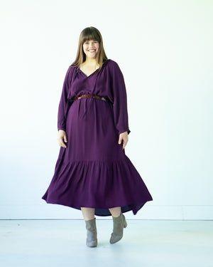 Purple boho linen maxi balloon dress US size 24-26 lagenlook dress plus size women XXL-XXXL pinafore summer linen dress linen tank dress