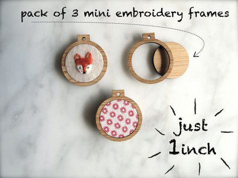 Set of 3 tiny ornamental embroidery hoop frames.    Each frame measures 1 inch in diameter. Features:    - Made from lightweight bamboo ply.    -