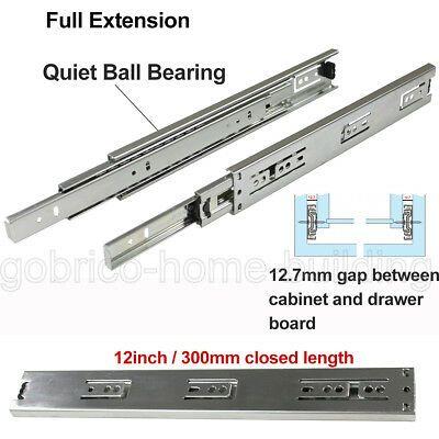 "24/"" Soft Close Drawer Slides Side Mount Full Extension Ball Bearing Glide 12/"""