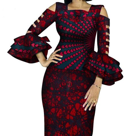 African Print Ruffles Sleeve Tops and Skirt Knee-length sets.