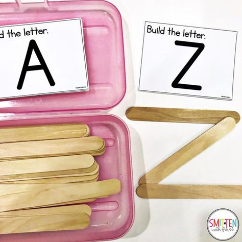 hands-on activity for students to complete independently. There are task cards and popsicle sticks in the box that the students will use to recreate uppercase letters. This idea can be modified by having the students create words instead of just letters. Toddler Learning Activities, Preschool Learning Activities, Kids Learning, Kindergarten Letter Activities, Stem Preschool, Educational Activities, Activities For Students, Kindergarten Literacy Centers, Pre School Activities
