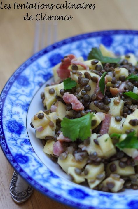 Salade De Lentilles Lardons : salade, lentilles, lardons, Salade, Lentilles,, Pommes,, Lardons,, Poché, Tentations, Culinaires, Clémence, Recette, Hiver,, Alimentation
