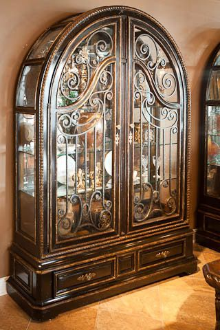 Marge Carson Segovia Arched Metal Scrollwork Display Cabinet