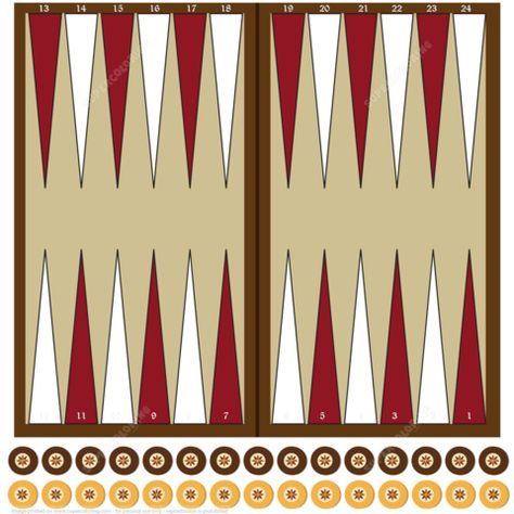 graphic relating to Printable Backgammon Rules identify Printable Paper Backgammon Board with Chips Paper craft