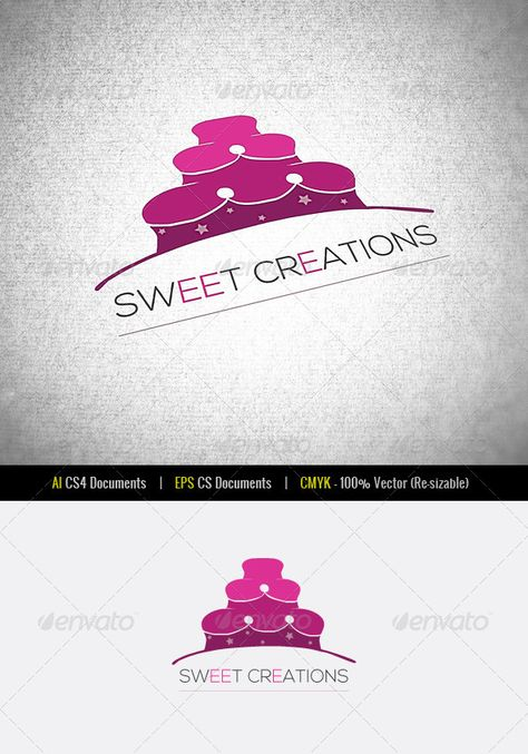 Sweet Creations Logo Template by Sweet Creations Logo TemplateAI EPS CSDocuments CMYK 100 Vector (Re-sizable) Perfect for stores, bakery shops,