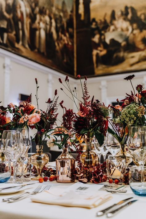 Dark + moody wedding flowers at RSA House London. Rachel Takes Pictures Photography Classic Romantic Wedding, Romantic Wedding Colors, Romantic Wedding Centerpieces, Romantic Wedding Receptions, Romantic Weddings, Wedding Decorations, Outdoor Weddings, Rustic Weddings, Indian Weddings