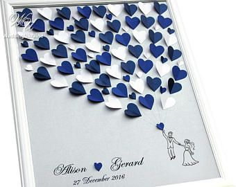 Shadows of Blue Hearts Wedding Guest Book Idea on the Silver background - 3D Wedding Tree - Modern Alternative to traditional guestbook