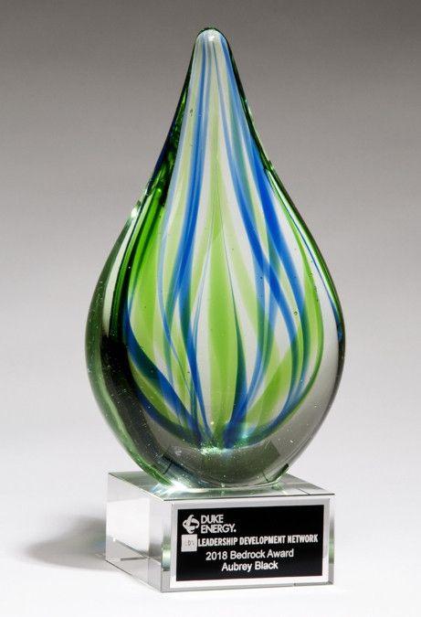 Blue Amp Green Teardrop Art Glass Glass Awards Glass Art Glass