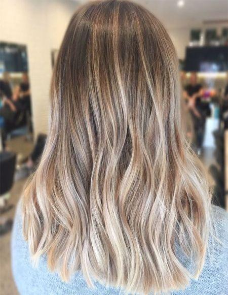Brunette Golden Tones Balayage Face Framing Blonde