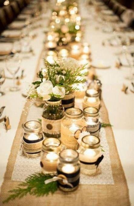 45 Ideas For Wedding Table Runner Flowers Mason Jars Wedding