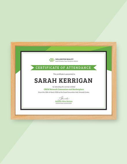 Free Workshop Attendance Certificate Attendance Certificate