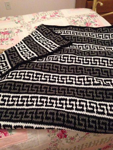 Striped Greek Key Throw Crochet Ripple Pattern Afghan Crochet Patterns Crochet Stitches