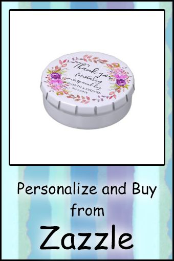 Lilac and Purple Watercolor Floral Wedding Candy Tin #weddingreceptionfavors #colorfulpurplewatercolorflowers #watercolorfloral #watercolorflowers #purpleflowers #weddingcandyfavors #weddingfavors