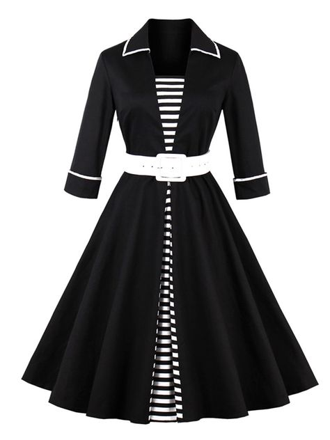 Black Striped Double-Layered Womens Day Dress We carry a wide array of the hottest styles of tops, bottoms, dresses, jewelry, and accessories. # #Womens