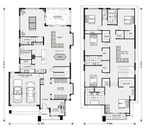 Elwood 406 Home Designs In Newcastle G J Gardner Homes Double Storey House Plans Family House Plans 6 Bedroom House Plans