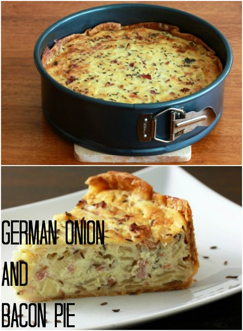Onion and Bacon Pie (Zwiebelkuchen) I love German Food. German Onion & Bacon Pie {Zwiebelkuchen} Now where did I put my spring form pan?I love German Food. German Onion & Bacon Pie {Zwiebelkuchen} Now where did I put my spring form pan? Quiche Recipes, Brunch Recipes, Breakfast Recipes, Breakfast Quiche, German Breakfast, Bacon Recipes, Vegetarian Recipes, Quiches, Bacon Pie