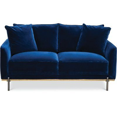 Modern Royal Blue Velvet Loveseat Marseille Blue Velvet