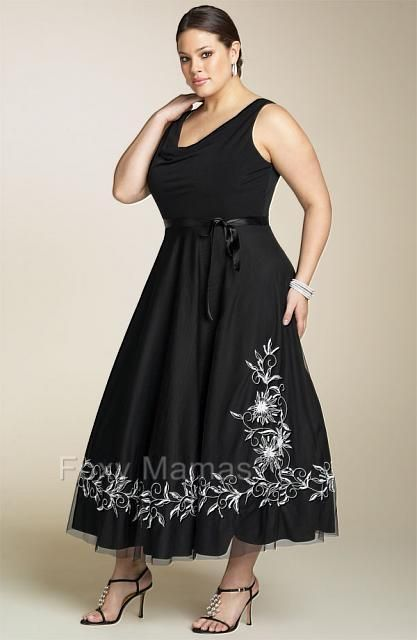 FOXYMAMA Plus Sze Black Embroidered 3/4L Cocktail Dress Sizes 16 ...