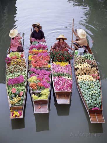 A Group of Four Women Market Traders in Boats Laden with Fruit and Flowers, Thailand Photographic Print by Gavin Hellier at AllPosters.com