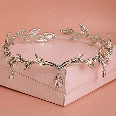 Tiara crown for women in silver leaves w bling crystals greek