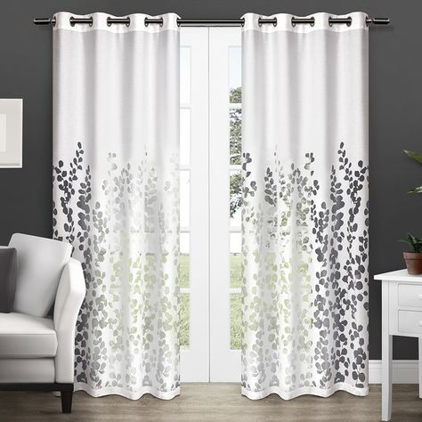 """ATI Wilshire Burnout 84"""" Sheer Grommet Top Curtain Panel Pair (White)... ($60) ❤ liked on Polyvore featuring home, home decor, window treatments, curtains, white, patterned sheer curtains, sheer curtains, white grommet curtains, floral window curtains and grommet window curtains"""