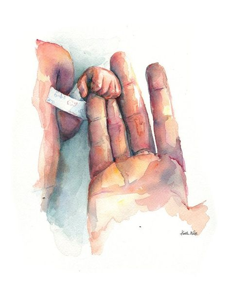 Preemie Holding Hands Watercolor Print - Preemie and Mother Hand - NICU Art - Neonatology Art - NICU