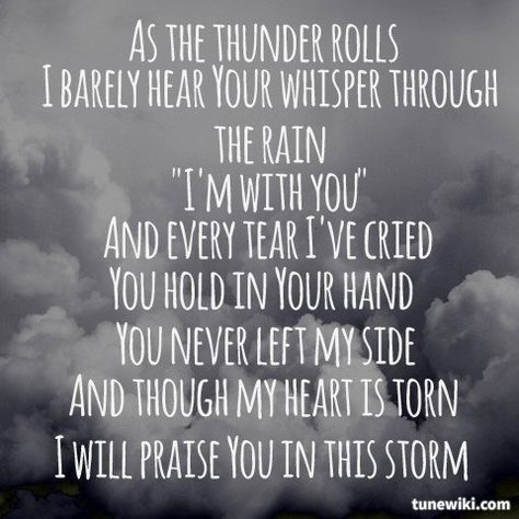 """We played this song when we shared our verse of the day today: Job 1:21 """"The LORD gave, and the LORD has taken away; blessed be the name of the LORD.""""  -- #LyricArt for """"Praise You In This Storm"""" by Casting Crowns"""