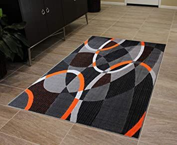 Masada Rugs Modern Contemporary Area Rug Orange Grey Black 8 Feet X 10 Feet In 2020 Contemporary Area Rugs Area Rugs Modern Area Rugs