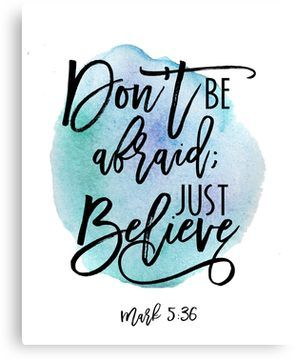 Bible verse Mark 5:36 with Blue Watercolor Background Canvas Print