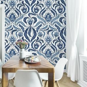 Roommates Bohemian Damask Blue Tan Peel And Stick Wallpaper Removable Wallpaper Self Adhesive Wallpa Peel And Stick Wallpaper Decorating Solutions Damask