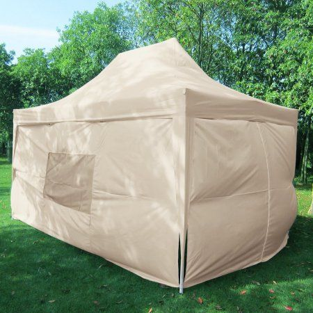 Quictent Privacy 10x15 Ez Pop Up Canopy Party Tent Gazebo 100 Waterproof With Sides And Mesh Windows Beige Party Tent Tent Pop Up Canopy Tent