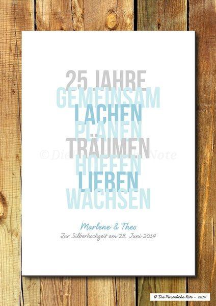 Druck/Wandbild: Geschenkidee Zum 25. Hochzeitstag | 25 Hochzeitstag,  Wandbilder Und Noten