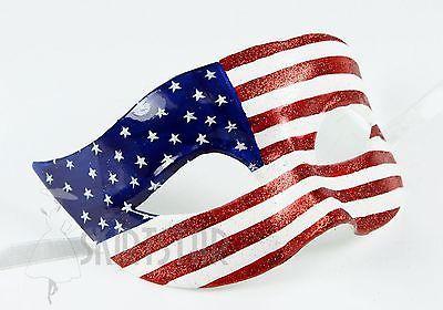 Patriotic USA Flag Mask Masquerade Costume Glitter Fancy Dress Ball Unisex Men