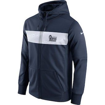 get cheap 82d32 b877d Men's Los Angeles Rams Nike Navy Team Sideline Full-Zip ...